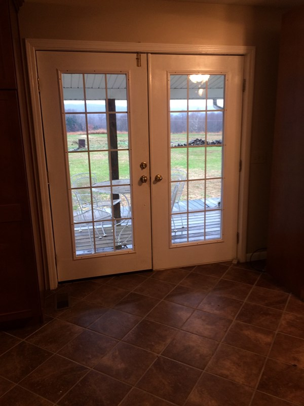 French doors with pasture view